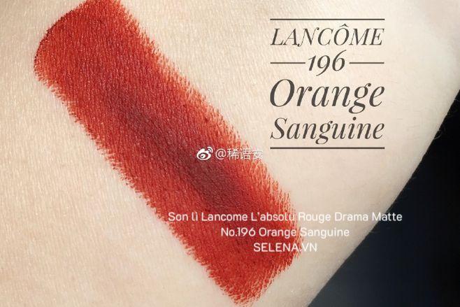 Son lì Lancome L'absolu Rouge Drama Matte- No.196 Orange Sanguine