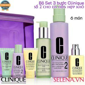Bộ Set 3 bước Clinique số 2 cho da hỗn hợp khô (6 món)