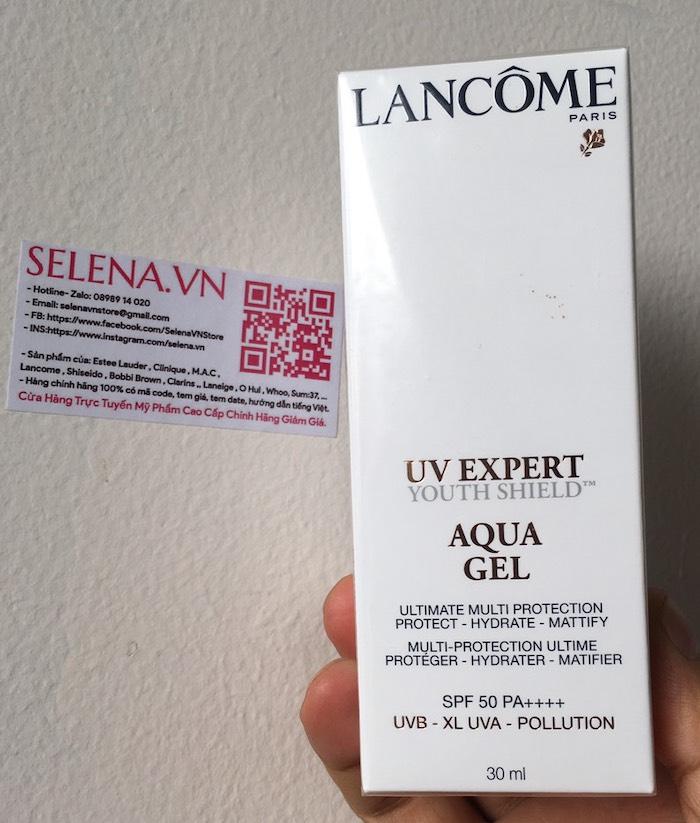 Kem chống nắng dưỡng ẩm đa năng Lancôme Uv Expert Aqua Gel Spf 50 kem bảo vệ đa năng cấp ẩm, chứa thành phần hoa Tuyết Nhung giúp da chống lại những tác nhân có hại hàng ngày như tia UV và ô nhiễm.