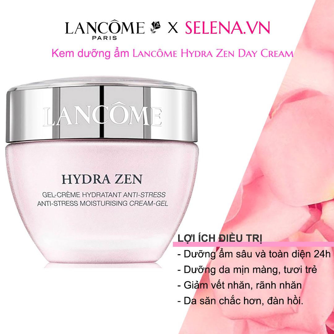 Kem dưỡng ẩm Lancôme Hydra Zen Day Cream làm dịu da, xoá tan căng thẳng cho da, dưỡng ẩm ngay lập tức và khoá ẩm 24 giờ cho da căn mịn tươi trẻ
