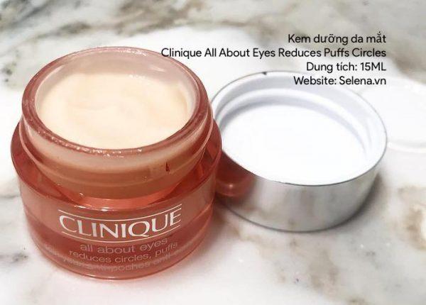 Kem Dưỡng Da Mắt Clinique All About Eyes Reduces Puffs Circleslà kem dưỡng chống lão hóa, chống nhăn, chống thâm quầng da vùng mắt, chống bọng mắt, làm đều màu và sáng màu da vùng mắt.