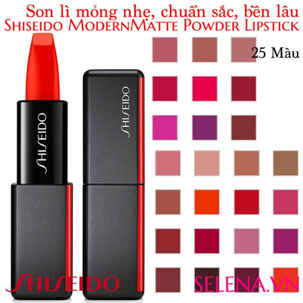 Son lì mỏng nhẹ chuẩn sắc Shiseido ModernMatte Powder Lipstick với kết cấu mỏng nhẹ, cho đôi môi chuẩn sắc, mềm mượt, màu sắc lâu dài, táo bạo với satin
