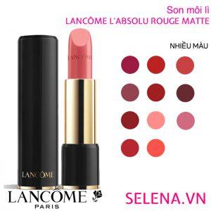 Son môi lì Lancôme L'absolu Rouge Matte những sắc màu tươi mới, sắc thái rực rỡ. Phong cách sang trọng, quý phái mà hiện đại. Thỏi son dưỡng quyền năng mang lại sự căng mọng, quyến rũ cho đôi môi của bạn, giúp giữ lớp son màu luôn mịn mượt như nhung.