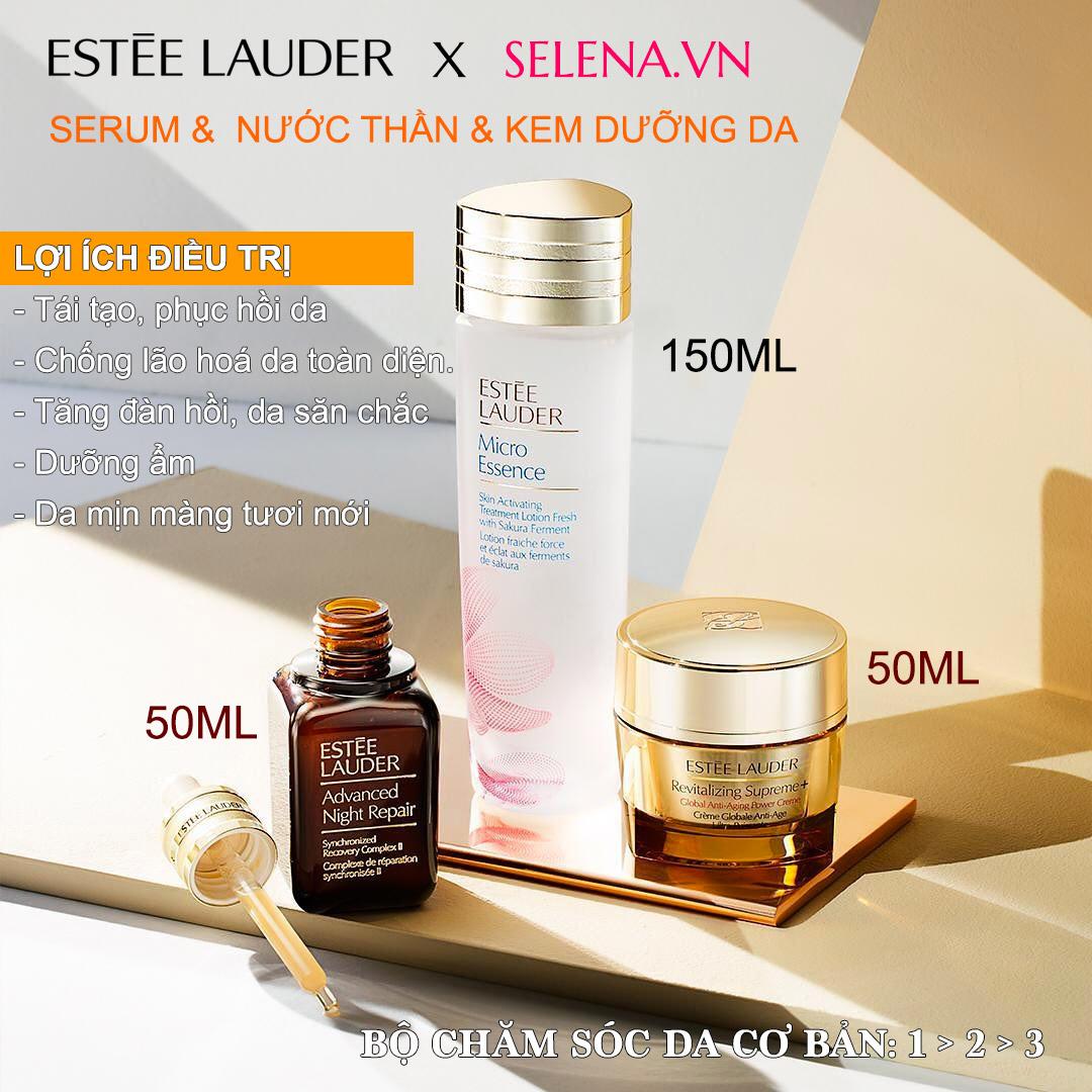 Bộ chống lão hoá toàn diện Estee Lauder Advanced Night Repair Micro Essence Revitalizing Supreme+ tác dụng cộng hưởng tăng cường hấp thu dưỡng chất để chống lại các dấu hiệu lão hoá da như nhăn da, chãy xệ, cho làn da đàn hồi tươi mới mịn màng hơn mỗi ngày.