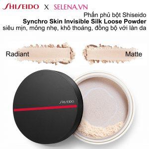Phấn phủ dạng bột Shiseido Synchro Skin Invisible Silk Loose Powder siêu mịn, mỏng nhẹ, khô thoáng, đồng bộ với làn da, tăng cường hoàn thiện trang điểm.