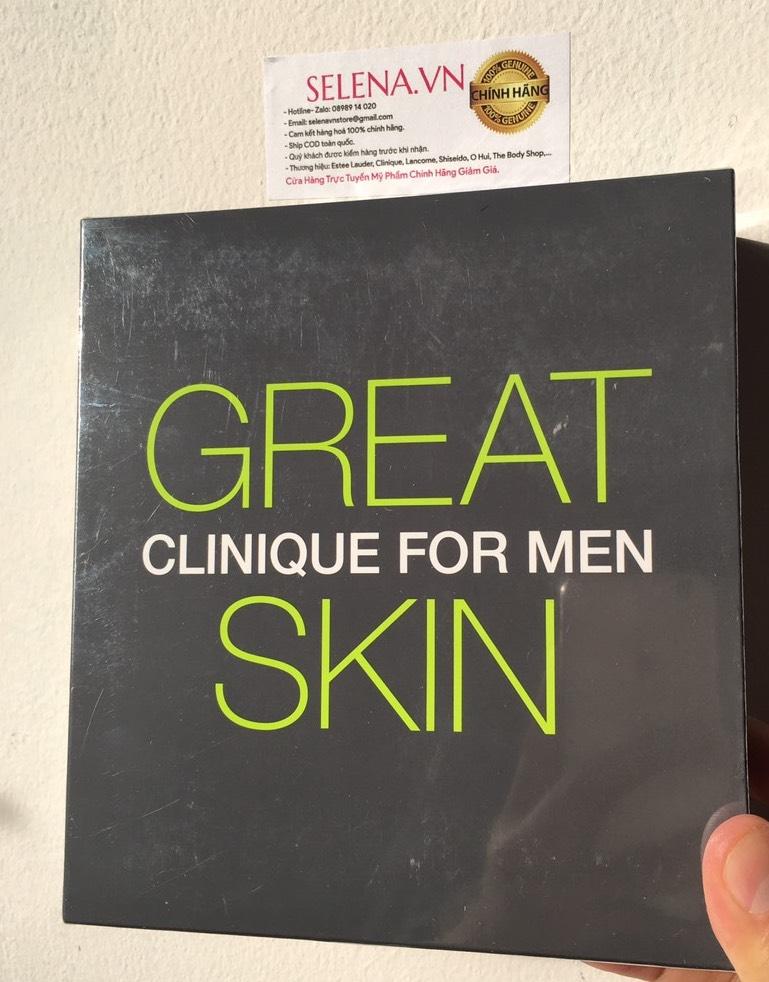 Bộ Gift Set quà tặng Nam Giới da thường khô Clinique For Men bao gồm sữa / dung dịch rửa mặt chuyên dụng làm sạch da, nước thanh tẩy thanh lộc da và sữa dưỡng ẩm bổ sung độ ẩm cân bằng cho da, đồng thời khoá nước dưới da ngăn sự mất nước.