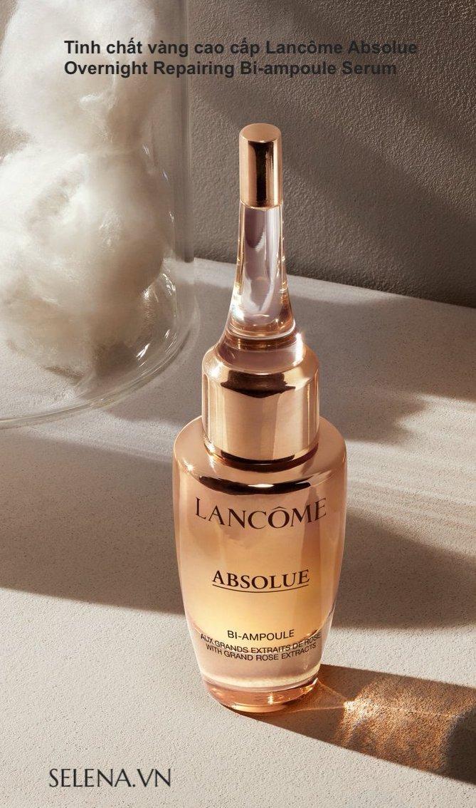 Tinh chất vàng cao cấp Lancôme Absolue Overnight Repairing Bi-ampoule Serum điều trị chống lão hóa tập trung, phục hồi và nuôi dưỡng da. Các vấn đề về chăm sóc da: đường nhăn, nếp nhăn, khô, mờ, kết cấu không đều, mất độ săn chắc và đàn hồI