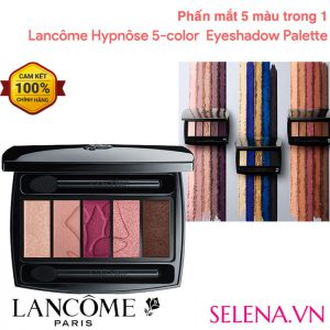 Phấn mắt Lancôme Hypnôse 5 Color Eyeshadow Palette 5 màu phấn mắt tuyệt hảo trong 1 hộp phấn. Thiết kế tiện dụng nhỏ gọn. Kết cấu phấn cực kỳ mềm và mịn như kem tạo sự dễ dàng khi sử dụng.