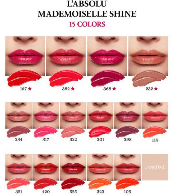 Bảng màu son Lancôme L'Absolu Mademoiselle Shine