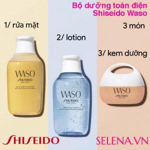 Bộ dưỡng toàn điện cho da đẹp mịn màng Shiseido Waso bao gồm sản phẩm rửa mặt làm sạch da, lotion làm mềm da và kem dưỡng ẩm sâu cấp nước cho da mịn màng suốt 24 giờ.