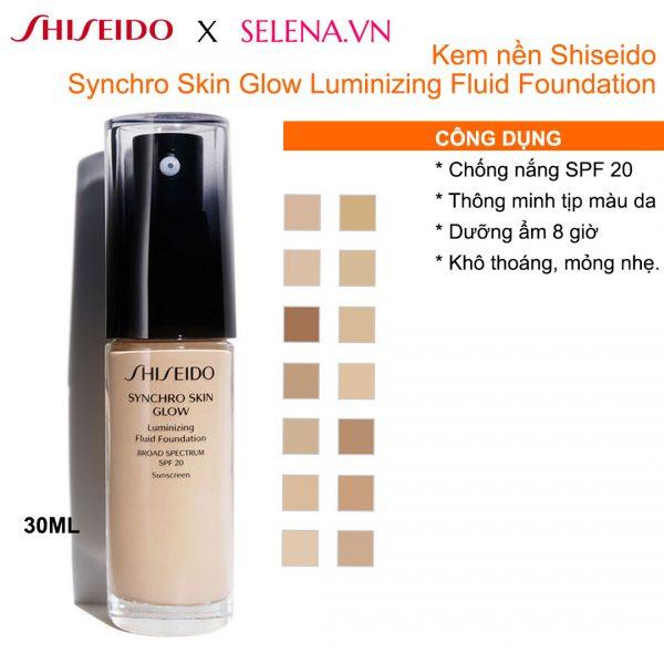 Kem nền Shiseido Synchro Skin Glow Luminizing Fluid Foundation lớp nền thông minh, giữ lớp trang điểm ẩm mượt, bóng khỏe, tươi sáng suốt ngày dài. Khả năng đồng điệu với tình trạng làn da để mang đến lớp nền căng mịn rạng rỡ từ bên trong và từ mọi góc nhìn.