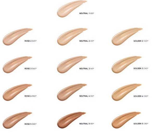 Bảng màu Kem nền Shiseido Synchro Skin Glow Luminizing Fluid Foundation 30ML