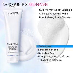Sửa rửa mặt tạo bọt Lancôme Clarifique Cleansing Foam tạo bọt mịn màng, loại bỏ hoàn toàn khói bụi, chất bẩn tích tụ trên da, cho làn da sạch sẽ mịn màng tươi mới. Đặc biệt không làm khô da. Tinh chỉnh làn da, se khít lỗ chân lông.