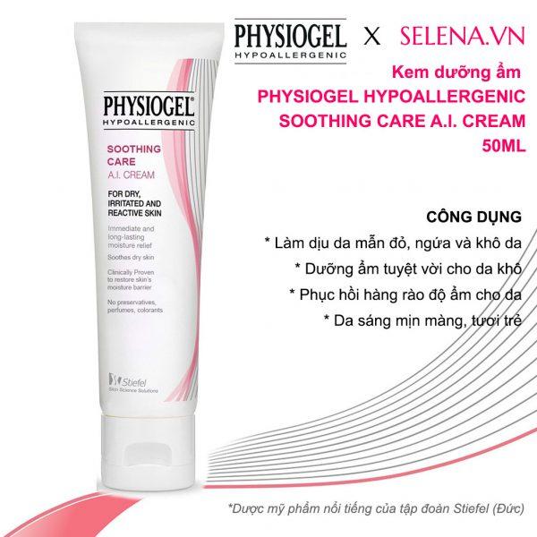 Kem dưỡng ẩm Physiogel Hypoallergenic Soothing Care A.I. Cream dùng hằng ngày phù hợp cho da khô, da nhạy cảm, da mẫn đỏ, da bị ngứa