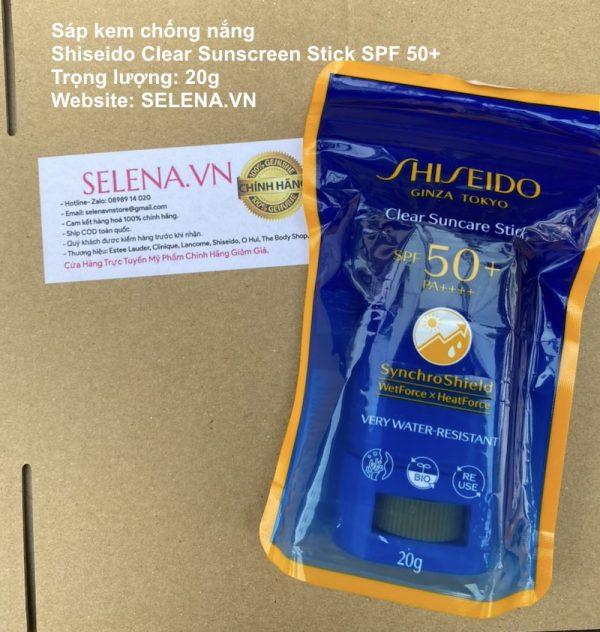 Sáp kem chống nắng Shiseido Clear Sunscreen Stick SPF 50+ thiết kế dạng thỏi tem chống nắng Shiseido vô cùng tiện lợi.
