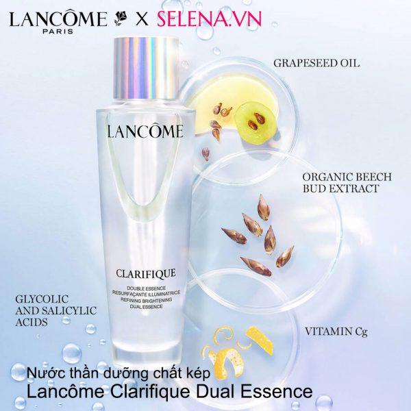 Nước thần dưỡng chất kép Lancôme Clarifique Dual Essence thu nhỏ lỗ chân lông, tinh chỉnh kết cấu da, sáng da đều màu, dưỡng ẩm, da mịn màng tươi trẻ.