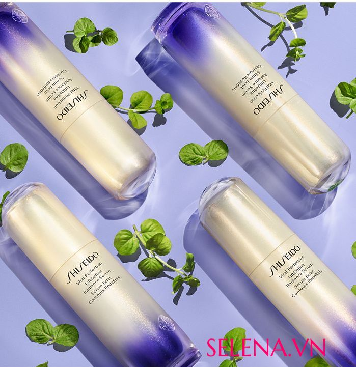 Tinh chất dưỡng da Shiseido Vital-Perfection LiftDefine Radiance Serum một loại huyết thanh nâng cơ và làm săn chắc da mặt tiên tiến giúp cải thiện rõ rệt tình trạng xỉn màu và mất độ săn chắc trong 4 tuần